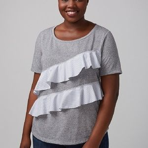 Lane Bryant Tee Gray with Ruffles